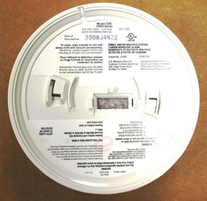Picture of Recalled 10000 Series Carbon Monoxide (CO) Alarm