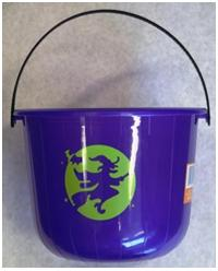 Picture of Recalled Purple Halloween Pails with Witch Decorations