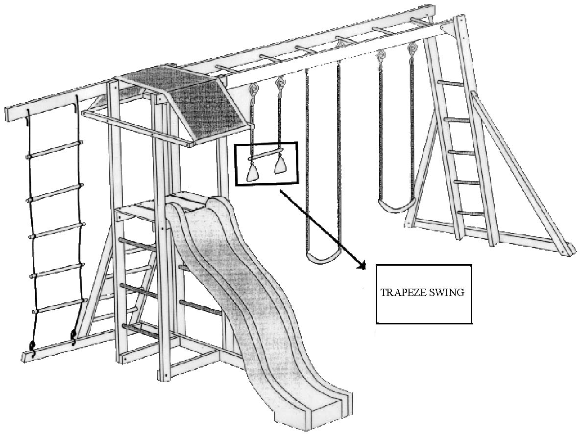Drawing of backyard Gym Set with an Arrow Pointing to the Trapeze Swing