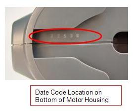 Picture of Recalled Wagner Paint Sprayer Date Code Location on Bottom of Motor Housing