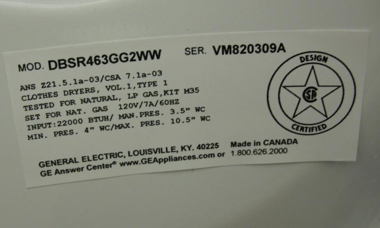 Picture of Recalled Gas Dryer Label