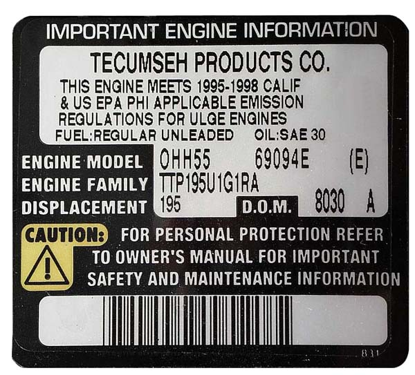 Picture of Engine Information on Label