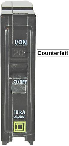 Picture of Recalled Counterfeit Circuit Breaker
