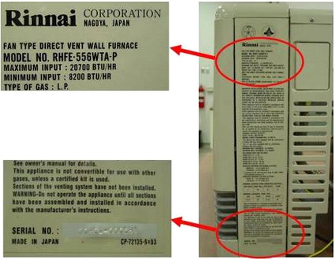 Picture of Recalled Wall Furnace Labeling