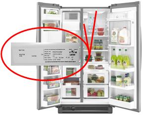 Picture of Recalled Refrigerator with Model/Serial Label