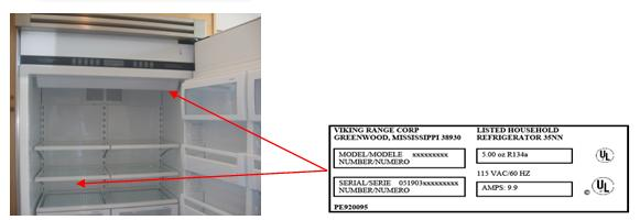 Picture of Recalled Refrigerator with label location indicated