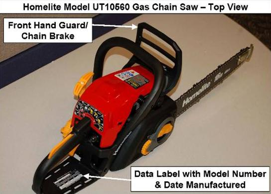 Picture of Recalled Homelite Chain Saw indicating the front hand guard/chain brake and the data label with model number and date manufactured