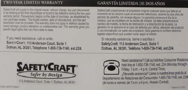 Picture of SafetyCraft crib label