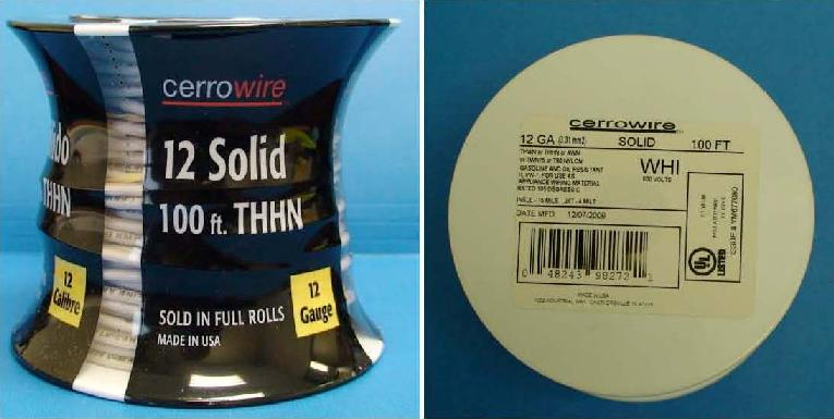Picture of Recalled solid THNN electrical wire