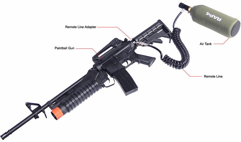 Picture of Recalled Paintball Gun with Remote Line Adapter