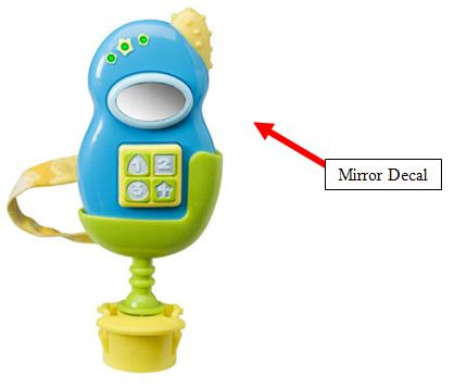Picture of Recalled Switch-A-Roo Telephone Toy showing location of decal