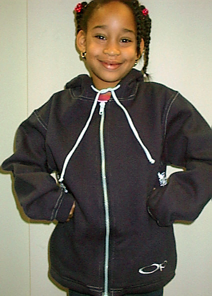 Picture of Girl in Sweatshirt with hood drawstrings