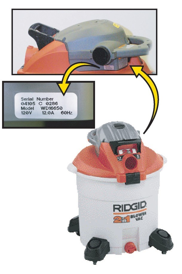 Picture of Recalled Wet/Dry Vac