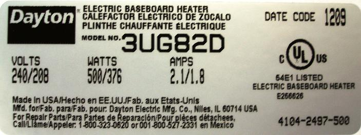 Rcalled baseboard heater nameplate