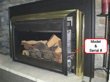 Picture of Recalled Propane Gas Fireplace Insert with location of Model and Serial Number Indicated