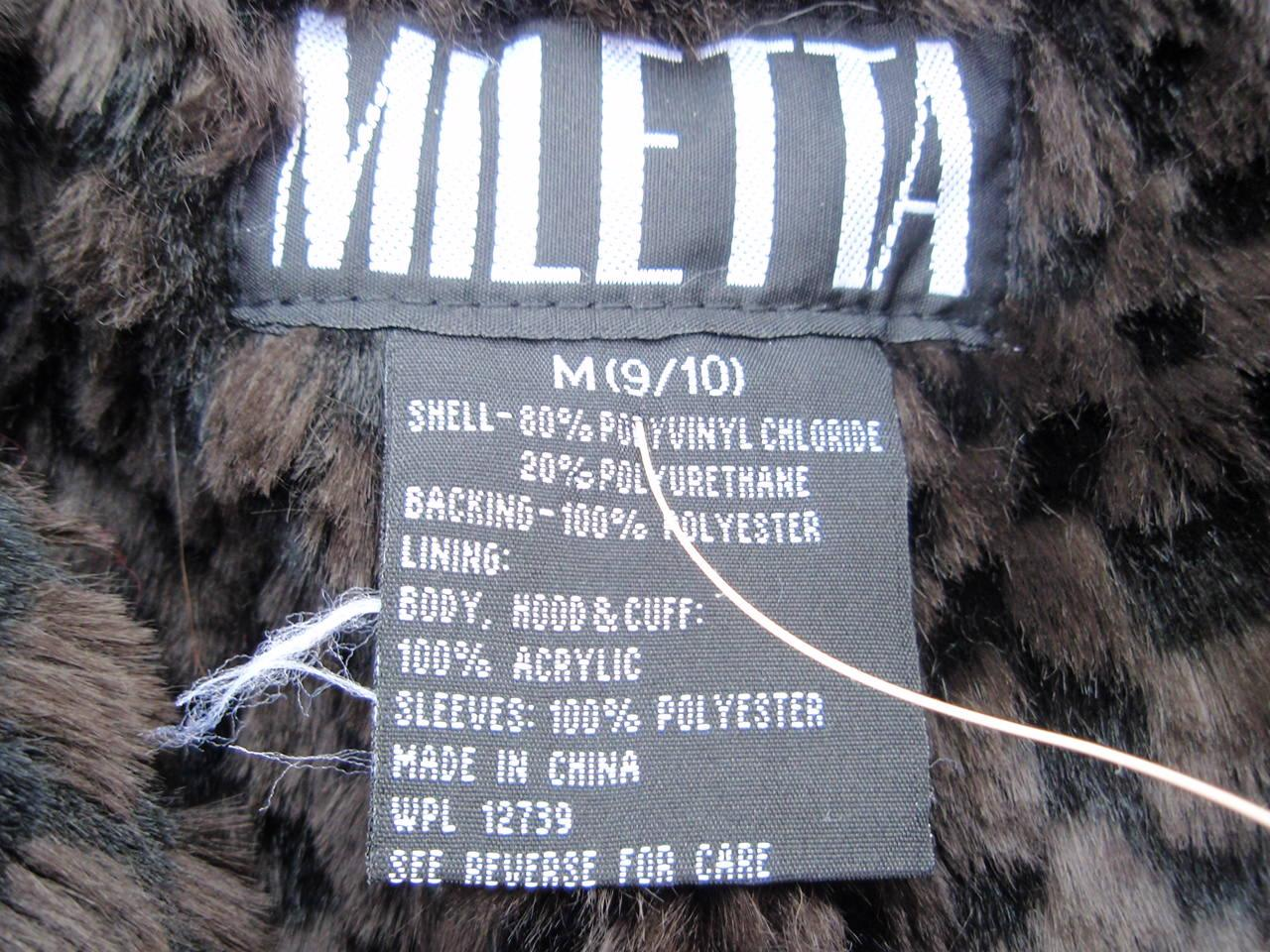 Recalled Miletta jacket label
