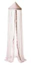 Light pink pointed canopy with pink lace and sequins sewn on the sheer light pink fabric